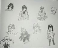 Manga. I drew some of my favorite manga characters royalty free stock photo