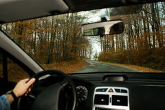 I drive my car. Sight inside of car rolling on a motorway Stock Images