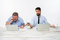 I due colleghi che lavorano insieme all'ufficio su fondo bianco fotografie stock libere da diritti