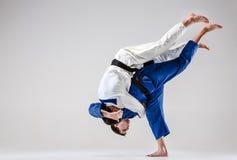 I due combattenti di judokas che combattono gli uomini Immagine Stock