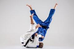 I due combattenti di judokas che combattono gli uomini Fotografia Stock