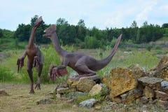 I due delle ricostruzioni dei rettili mesozoici Fotografie Stock