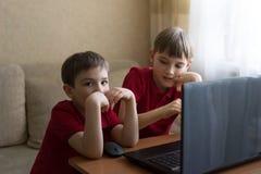 I due fratelli stanno sedendo nel salone e stanno giocando con il pc fotografia stock libera da diritti