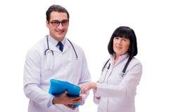 I due medici isolati sui precedenti bianchi Fotografia Stock Libera da Diritti