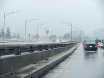 I-10 East During Rainstorm. Near Downtown Los Angeles Stock Images