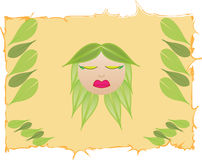 I am eco. Woman with leafs as hair Stock Photos