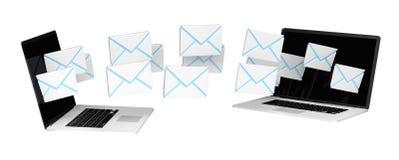 I email di Digital che volano tramite i dispositivi scherma la rappresentazione 3D Fotografia Stock Libera da Diritti