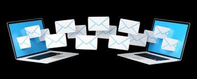 I email di Digital che volano tramite i dispositivi scherma la rappresentazione 3D Immagine Stock Libera da Diritti