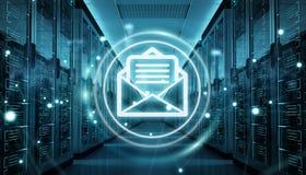 I email scambiano sopra la rappresentazione del centro dati 3D della stanza del server Fotografie Stock