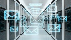I email scambiano sopra la rappresentazione del centro dati 3D della stanza del server illustrazione di stock