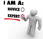 I Am An Expert Choose Experience Expertise Skill Level. I Am an Expert person choosing or deciding his skill level or rating based on experience and expertise stock illustration