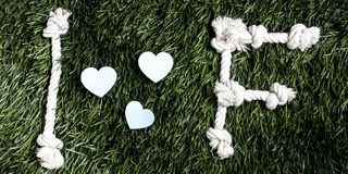 I and F letters and three paper heart cut outs on grass. I and F letters and three paper heart cut outs on grass Royalty Free Stock Photos