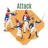 Napoleon`s grenadiers, French soldiers 19st century on isolated background vector illustration
