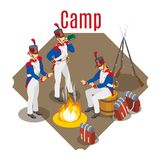 Napoleon`s grenadiers, French soldiers 19st century on isolated background royalty free illustration