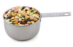I fagioli secci misti in una tazza del metallo misurano Immagini Stock