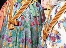 I fallas del costume di Falleras vestono il particolare da Valencia Immagine Stock