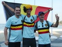 I fan belgi celebrano la vittoria dopo che concorrenza olimpica dell'itinerario della strada di riciclaggio di Rio 2016 di Rio 20 Immagine Stock