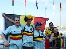 I fan belgi celebrano la vittoria dopo che concorrenza olimpica dell'itinerario della strada di riciclaggio di Rio 2016 di Rio 20 Immagine Stock Libera da Diritti
