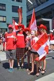 I fan canadesi arrivano al BC Place Stadium Fotografie Stock Libere da Diritti