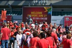 I fan canadesi arrivano al BC Place Stadium Fotografie Stock