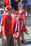 I fan canadesi arrivano al BC Place Stadium Immagine Stock