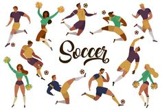 I fan delle ragazze pon pon dei calciatori di calcio hanno messo delle figure umane isolate con i segni del merch dell'illustrazi royalty illustrazione gratis