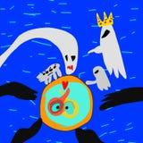 I fantasmi colpiscono il campo di forza di spazio blu e acconsentono sugli sforzi comuni sormontarlo illustrazione vettoriale