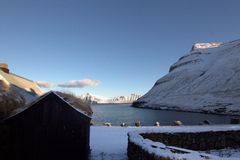 By i Faroeen Island Arkivbilder