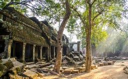 I fasci di Sun che splendono sul tempio rimane Immagine Stock