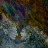 I fatati coppia la conversazione l'un l'altro, illustrazione variopinta Fotografia Stock Libera da Diritti