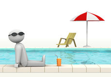 I feel good. One 3d man at the edge of a swimming pool with sunglasses and a glass of fresh beverage (3d render Royalty Free Illustration