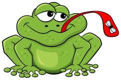 I fermi della rana volano con la sua lingua Immagine Stock Libera da Diritti