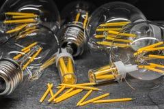 I filamenti di riserva del LED fra il LED accendono le lampadine del filamento Immagine Stock Libera da Diritti
