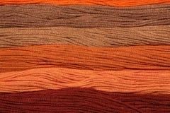 I fili multicolori del cotone per ricamo sono sistemati in una fila Immagine Stock Libera da Diritti