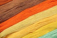 I fili multicolori del cotone per ricamo sono sistemati in una fila Fotografia Stock