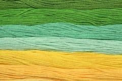 I fili multicolori del cotone per ricamo sono sistemati in una fila Immagine Stock