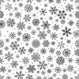 I fiocchi della neve dell'inverno scarabocchiano il fondo senza cuciture Fotografie Stock