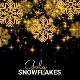 I fiocchi di neve di caduta casuali dell'oro sottraggono il modello sul nero Fotografia Stock Libera da Diritti