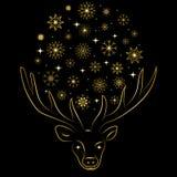 I fiocchi di neve e le stelle dorati hanno sistemato in una forma di un cerchio fra i corni del ` s dei cervi Siluetta dorata dis Fotografie Stock