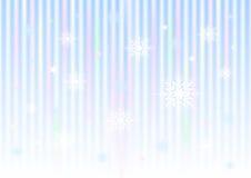 I fiocchi di neve e le stelle sulla pendenza a strisce ingranano il fondo Fotografia Stock