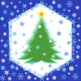 I fiocchi di neve incorniciano e l'albero di Natale Immagine Stock