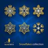 I fiocchi di neve vector l'insieme Fotografia Stock Libera da Diritti