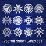I fiocchi di neve vector l'insieme (bianco) Illustrazione di Stock