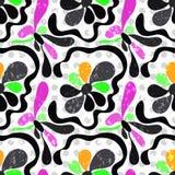 I fiori astratti dei graffiti su un modello senza cuciture del fondo bianco vector l'illustrazione Fotografie Stock