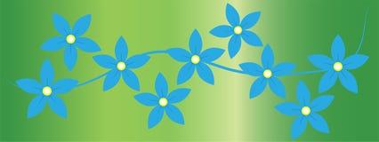 I fiori blu allineano nel fondo verde illustrazione di stock