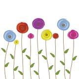 I fiori colorano il vettore disegnato a mano Immagini Stock