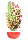 I fiori decorativi in un vaso, il fiore sovrastante traslucido dell'acquerello, prato fiorisce, la celebrazione che l'acquerello  illustrazione di stock