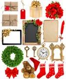 I fiori degli ornamenti delle decorazioni di Natale hanno avvolto i regali Fotografia Stock