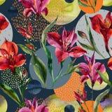I fiori dell'acquerello e le foglie decorativi, forme del cerchio hanno riempito di strutture acquerelle e minime di scarabocchio Fotografia Stock Libera da Diritti