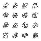 I fiori descrivono l'insieme piano dell'icona di vettore Illustrazione di vettore per il modello ed il fondo illustrazione di stock